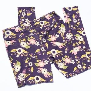 LulaRoe Purple Flower Print Leggings